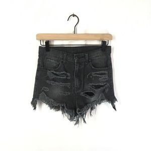 UNIF High Waisted Destroyed Shorts